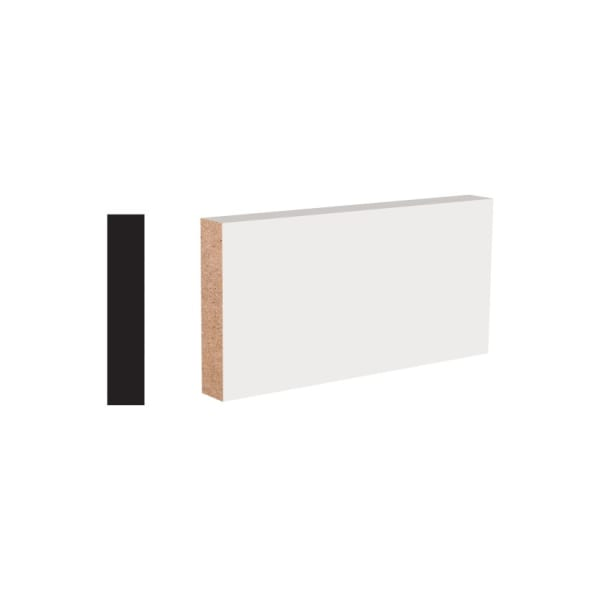 "17mm x 3-1/2"" x 8' White MDF Block Baseboard"