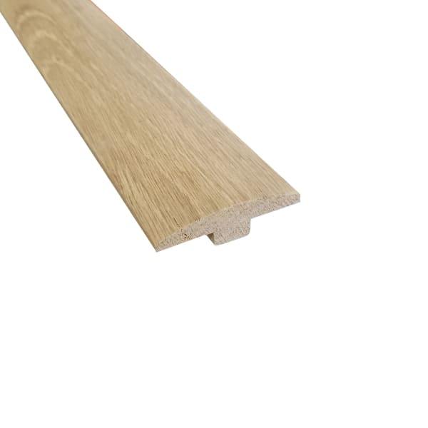 Unfinished White Oak Hardwood 1/4 in thick x 2 in wide x 8 ft Length T-Molding