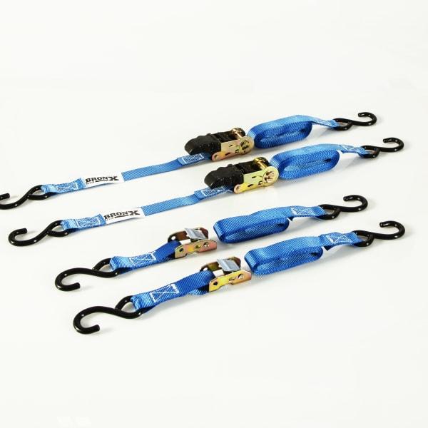 """Tie Down Straps Ratchet Set 1"""" 4pc 400-500 lb Capacity"""