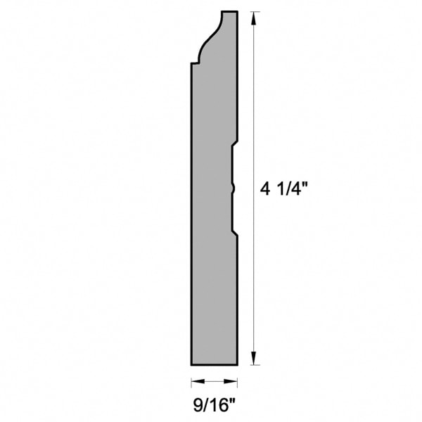 "White Wood Molding -Baseboard 4-1/4"" profile drawing"