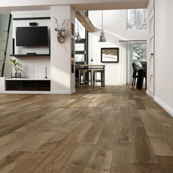 Rattan Maple Solid Hardwood Flooring in Living Room and Bedroom