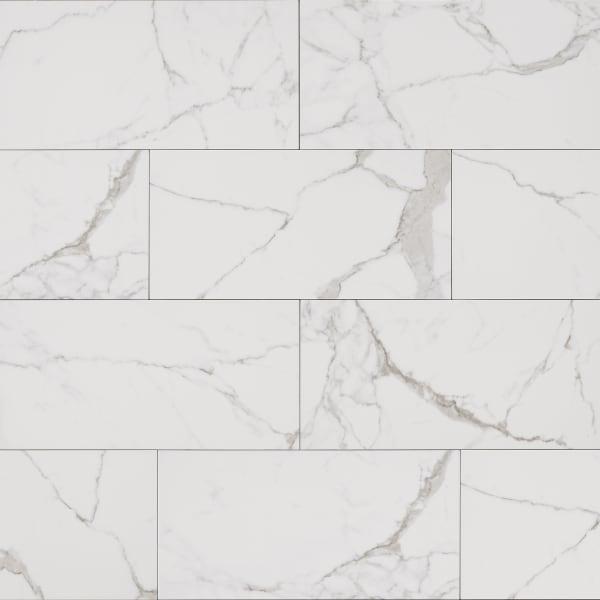 24 in. x 12 in. Bianca Carrara Porcelain Tile
